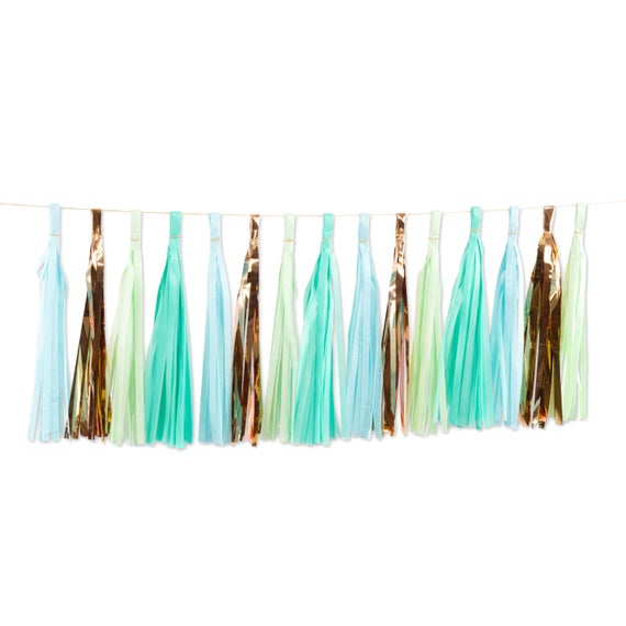 Hello World Tassels, Tissue Tassels, Tassel Banner, Birthday Party Decor, DIY Tassels, Baby Shower, Girl, Summer Decor, Boy Mint Rose Gold