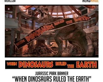 When Dinosaurs Ruled the Earth Banner - Movie Banner - Dinosaur World - Movie Prop - Movie Replica - Custom Banners Available