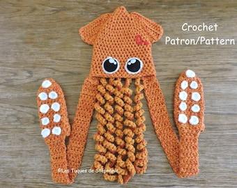 Crochet PATTERN Squid scoodie, hat scarf mittens, squid crochet pattern tentacle, Octopus hat crochet pattern, splatoon kit for winter