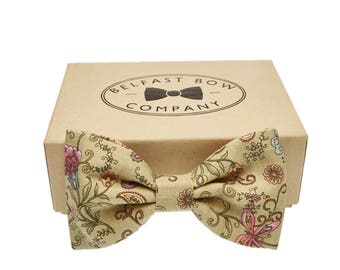 Handmade Floral Bow Tie in Pastel Green/Pink/Blue - Adult and Junior Sizes