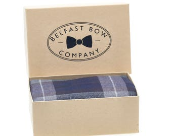 Handmade Tartan Pocket Square in Navy Grey Black