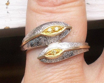 Magnificent Unique 14k yellow gold diamond solid sterling silver snake ring size 8.5
