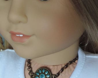 Turquoise and Brass Medallion Necklace for American Girl Dolls and other 18 inch dolls