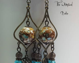Boho Bronze Dangle Earrings With Leaf Charms, Blue, Gypsy, Bohemian, Hippie