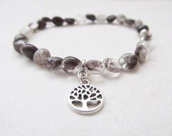 Chlorite quartz bracelet, gemstone bracelet, tree bracelet, yoga bracelet, tree of life bracelet
