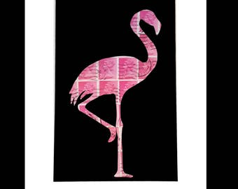 Flamingo Vintage Stamp Art