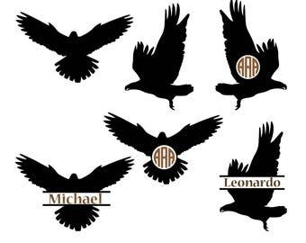 Eagle SVG, eagle monogram frames svg, eagle silhouette, eagle cut files, silhouette files, Cricut files, eagle vector, svg, dxf, eps, png.