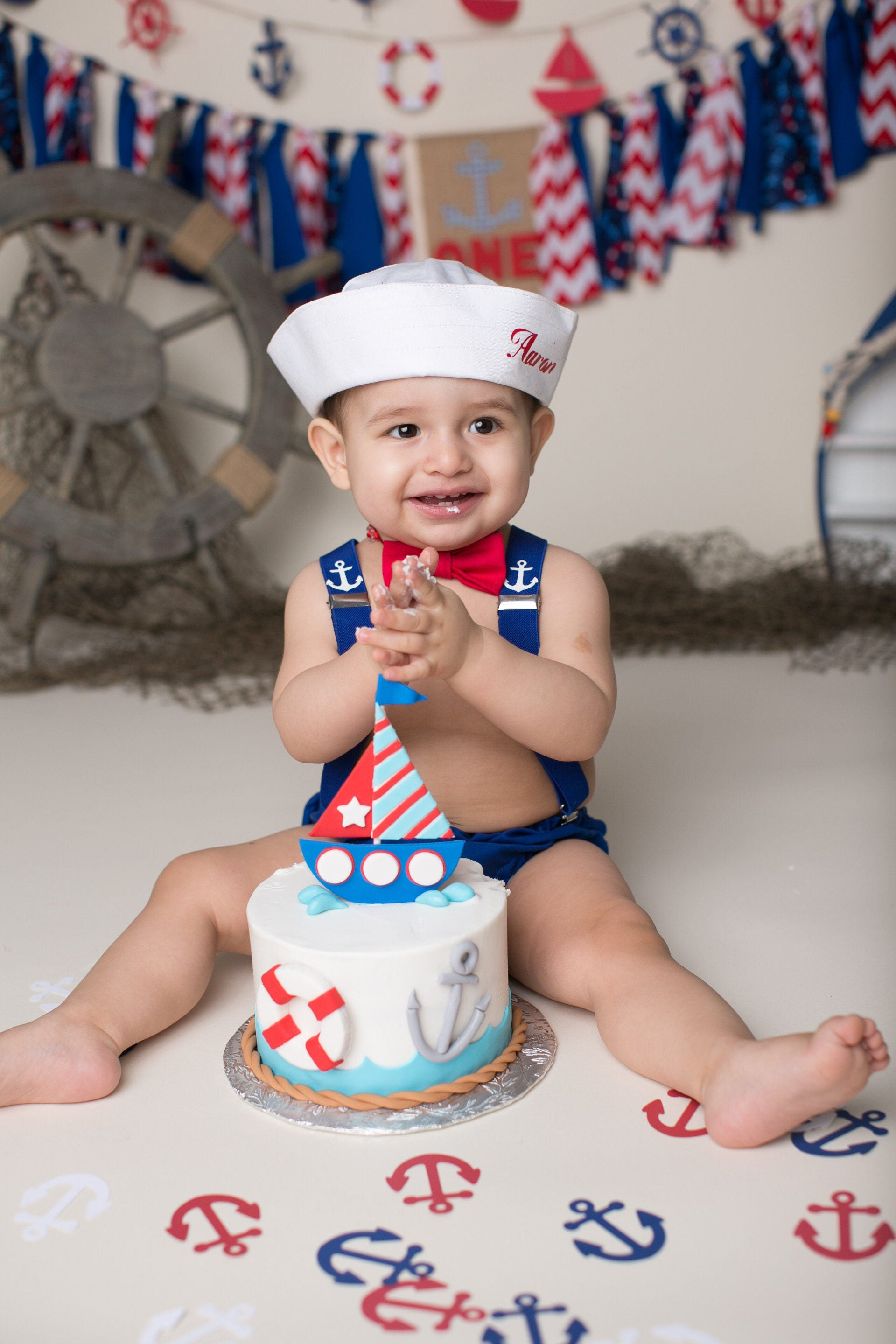 Cake Smash Outfit Personalised Sailor Boys 1st Birthday
