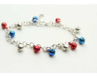 American Girl Bracelet, Red White & Blue | Toddler Girl | Patriotic Gift | Fourth of July Outfit | Silver Anklet Bell Bracelet