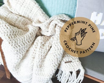 Rothmere Fringe Throw Blanket - CROCHET PATTERN - Chunky Afghan Blanket Instant Download