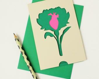Carte de St Valentin en papier découpé /// Coeur d'artichaut /// Claire Colin