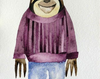 Whimsical art, original art, watercolor painting, sloth art, nursery art, kids room art, whimsical animal art, modern nursery art, sloth