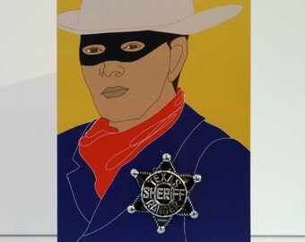 Cowboy Greetings card with vintage sheriff badge. Choose silver or colourful