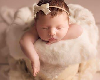 CREAM VINTAGE VELVET Skinny Hand-tied Bow (Headband or Clip)- velvet bow headband; velvet bow; newborn headband; baby headband; bow