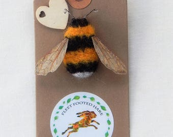 Bumble Bee Brooch pin needle felted