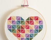 Beginner Cross Stitch Kit, Rainbow Heart Cross Stitch Kit, DIY Cross Stitch Kit, Rainbow Geometric Cross Stitch Kit, Easy Cross Stitch Kit