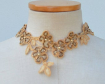 Lace necklace, Bridal lace, short neck cocker taupe lace beaded Choker, embroidered lace collar has tie collar