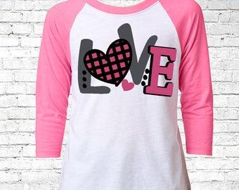 Girls Valentines Shirt, Valentines Youth Shirt, Custom Valentines Raglan, Valentines Day Outfit, V-Day Tee, Love Baseball Tee