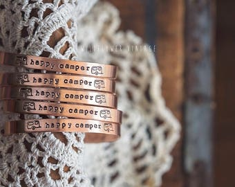Happy Camper Copper Cuff Bracelet | Boho Jewelry Glamping Camping Gypsy Hand Stamped Gift