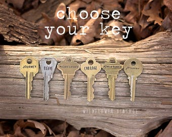 Choose Your Own Vintage Key Necklace | Hand Stamped Custom Repurposed Inspirational Giving Personalized Jewelry Unisex Valentine's Day