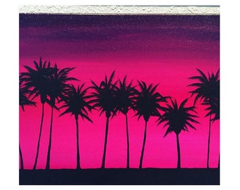 Sunset Sea Surf Beach Palm Tree Painting Wall Art Home Decor - Original Artwork