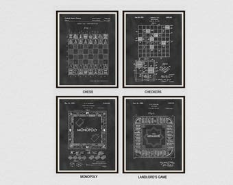 Board Game Patents Set of 4 - Chess Patent - Checker Patent - Monopoly Patent - Landlord's Game Patent - Game Room Decor - Parlor Game