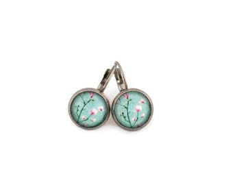 Sleepers cabochons - stem stainless steel - glass 12 mm - turquoise earring - flowers - hypoallergenic / Flowers earrings