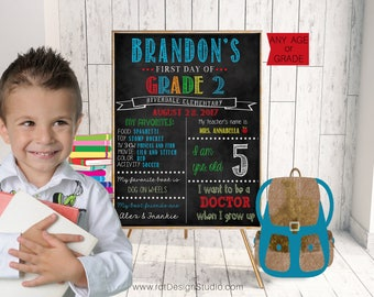 Kindergarten, Back to School Sign, Second Grade, Chalkboard Sign, First Day of School, First Day School, Chalkboard Print, Grade One, D100-3