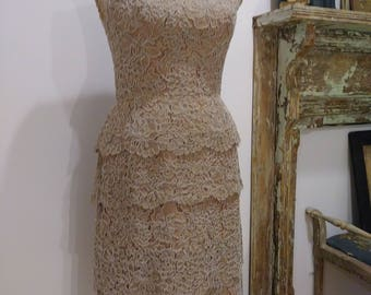 Gorgeous 1950's Helena Barbieri couture guipure lace dress.