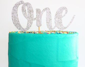 READY TO SHIP! One cake topper   Silver glitter one topper   First birthday cake topper   One cake topper   1st birthday cake topper  