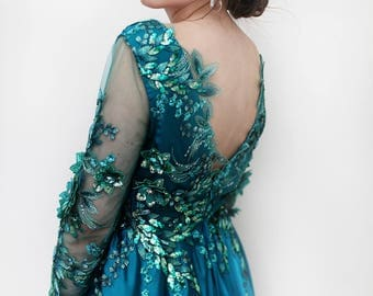 Emerald green embroidered beaded rhinestone lace open back dress