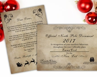 Personalised Santa letter, Santa nice list certificate, santa letter printable, father christmas letter, santa claus letter, christmas box.