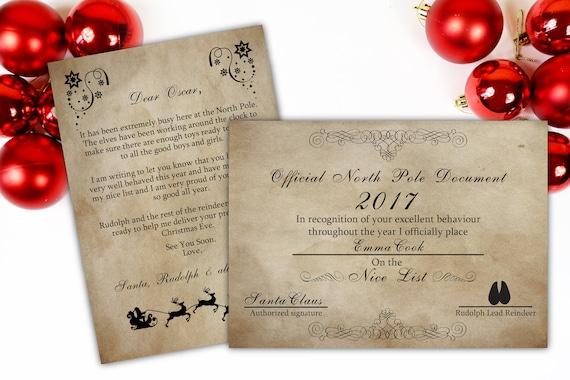 Personalised santa letter santa nice list certificate santa like this item spiritdancerdesigns Gallery