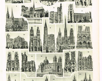 Original Black and White Vintage French Larousse Print Lithograph Architectural architecture Cathedrales Cathedrals  1920s Monochrome Plate