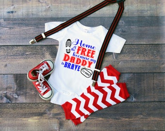 U.S. Marine Corp Home Of The Free Because My Daddy Is Brave  Baby Shower Idea Girl Boy Toddler Clothes Romper Shirt Coming Home Veterans Day