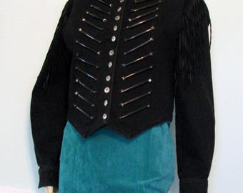 1990s Jacket Denim Military Style Double D Ranch Black Fringe Costume