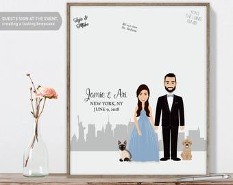 Engagement Guest Book Portrait / New York Skyline / Manhattan Portrait Guestbook Illustration ▷ Printed Paper, Canvas {or} Printable