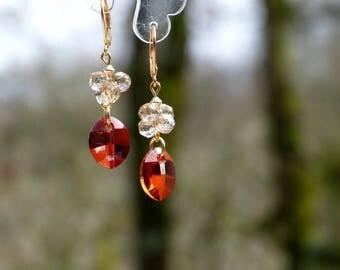 Red Stud Earrings orange and beige Swarovski Crystal