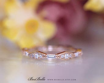 0.63 ct.tw Vintage Art Deco Eternity Ring-Baguette & Brilliant Cut-Stacking Band Ring-Promise Ring-Rose Gold Plated-Sterling Silver [3116RG]