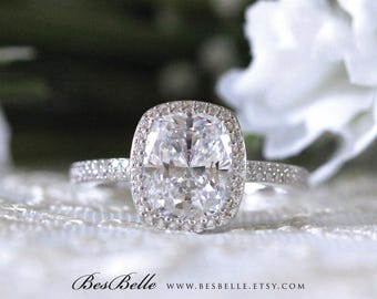 4.50 ct.tw Halo Engagement Ring-Radiant Cut Diamond Simulant-Double Lane Pave set Bands-Bridal Ring-Wedding Ring-Sterling Silver [0354]