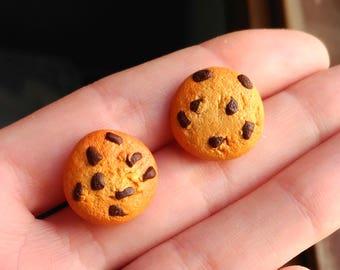 Cookie Earrings chocolate chips realistic food kawaii
