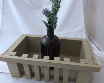 Wood planter box beige home decor