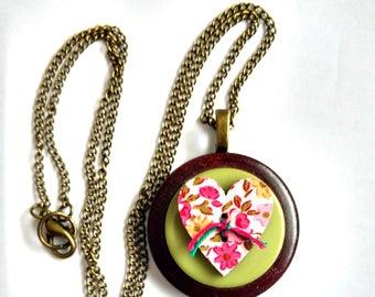 Romantic Heart Pendant, Pretty Pendant for Women, Button Pendant, Button Necklace, Button Jewelry,  Pink Heart Necklace, Gift for Friend