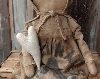 Primitive Feed sack Prairie doll Cupboard tuck Old doll Cloth doll Extreme Primitive Faap Hafair team Haha