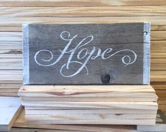Reclaimed Wood Hope Sign