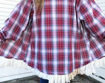 Red Plaid Lace Trim Pearl Snap - Lace Trim Pearl Snap - REVAMP - Pearl Snap Shirt - Size XLARGE