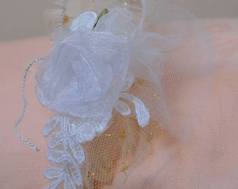 Wedding, champagne and white fascinator headband with flower and tulle
