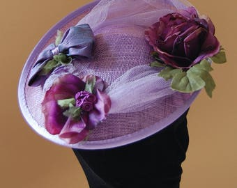 Hat of ceremony and wedding purple and plum with old flowers fascinator for guest procession