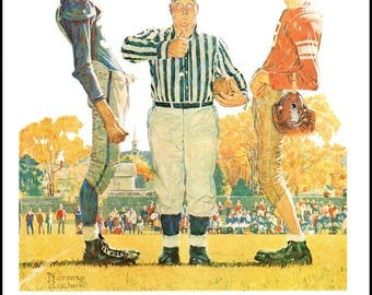 The toss and Practice Post Covers by Norman Rockwell. The page is approx. 11.5 inches wide and 15 inches tall.
