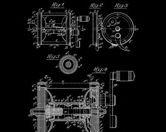 Fishing reel  Patent #842,551 dated January 29, 1907. Fishing reel Patent decor. Available in several sizes and backgrounds.